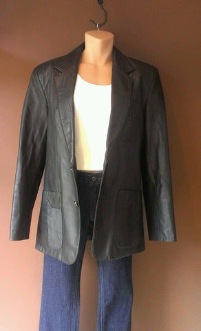 Leather Loft black button down genuine leather  jacket Sz 38