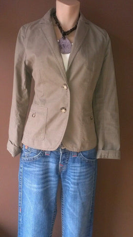 Talbots khaki button down blazer Sz petite small