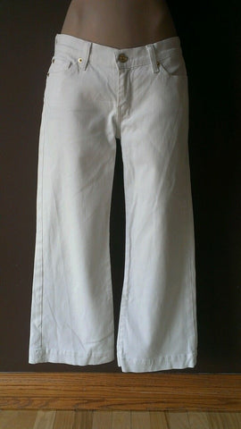7 For All Mankind white denim capri pants Sz 28