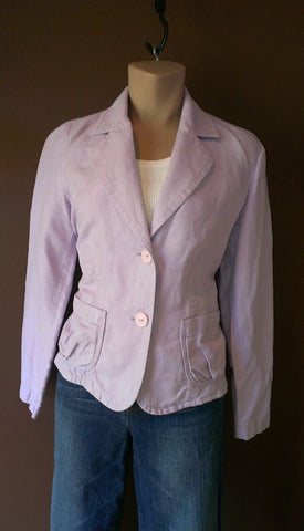 Talbots lavender button down blazer Sz 8 petites, exellent condition