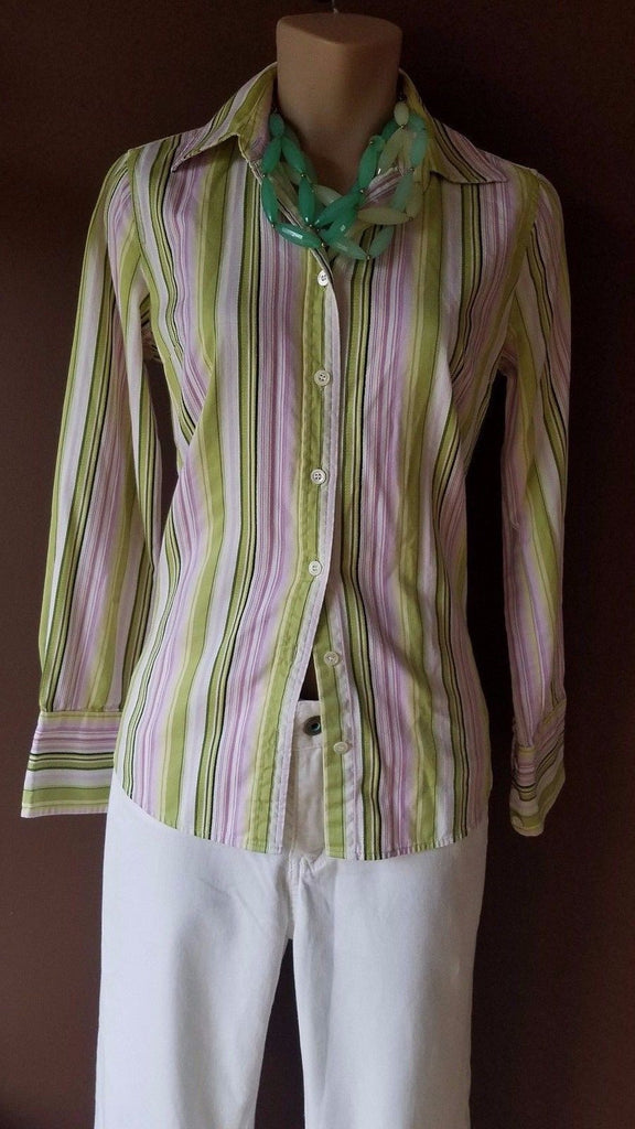 J. Crew multi-color trendy striped button shirt, Sz Xsmall