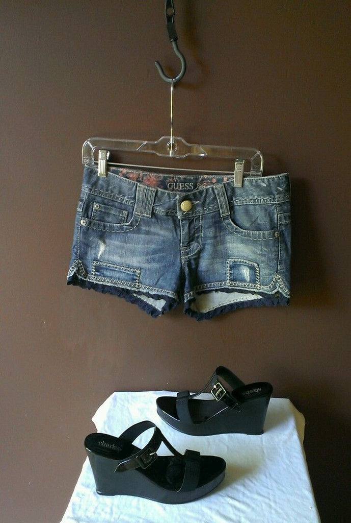 Guess distressed patched denim shorts Sz 28