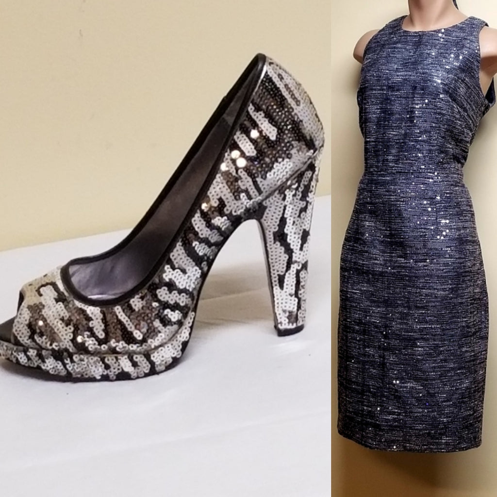 Carmen Marc Valvo gray sequin dress, size 6