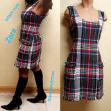 Zara trf collection red, green off white and blue plaid dress, size M