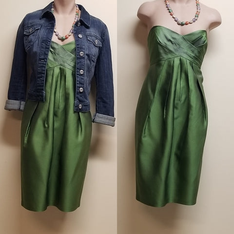 David Meister designer green strapless silk dress, size 6