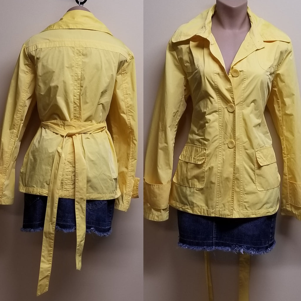 Chico's trendy bright yellow button up Spring jacket, size 1