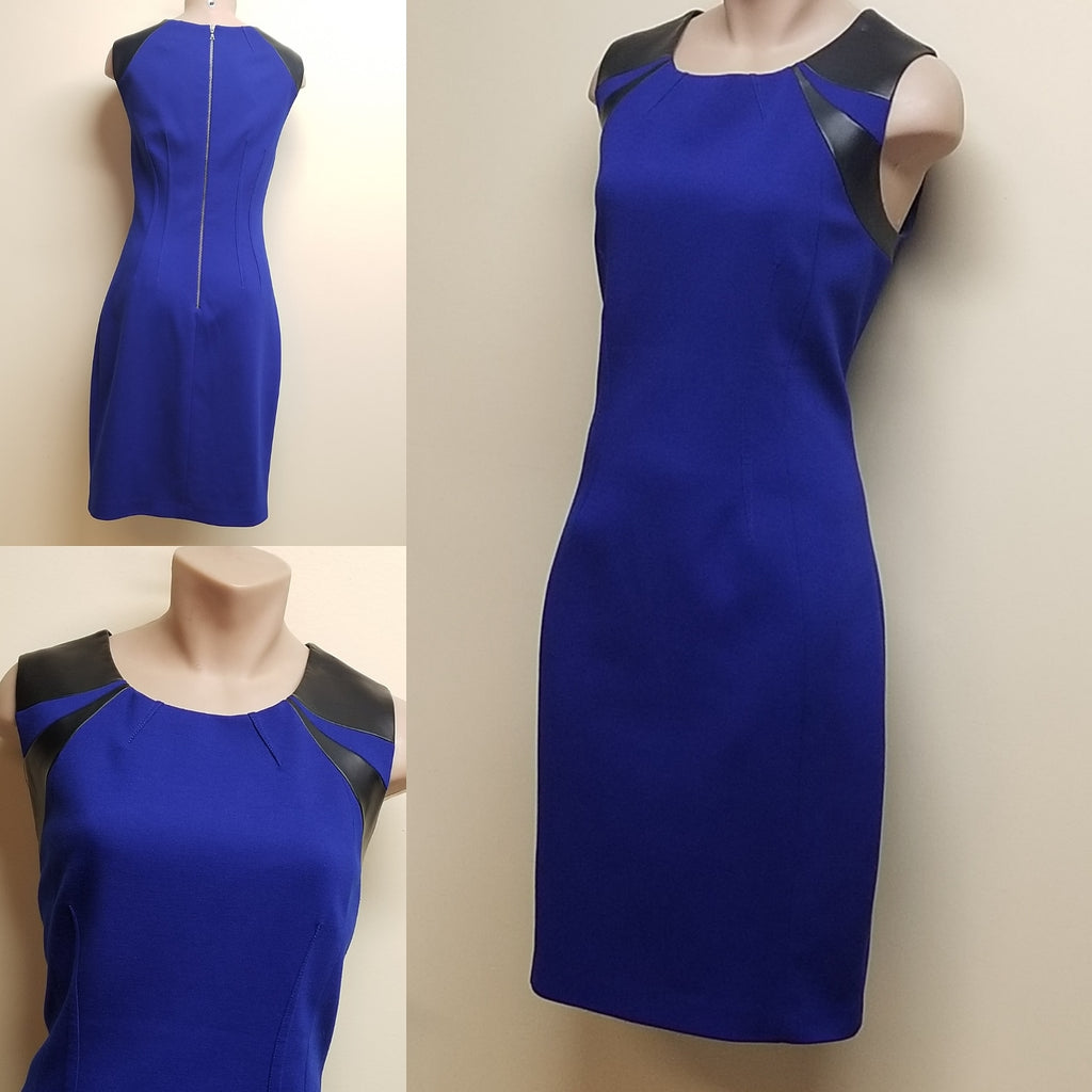 Tahari blues dress w/faux leather accetnt on shoulder, Size 8