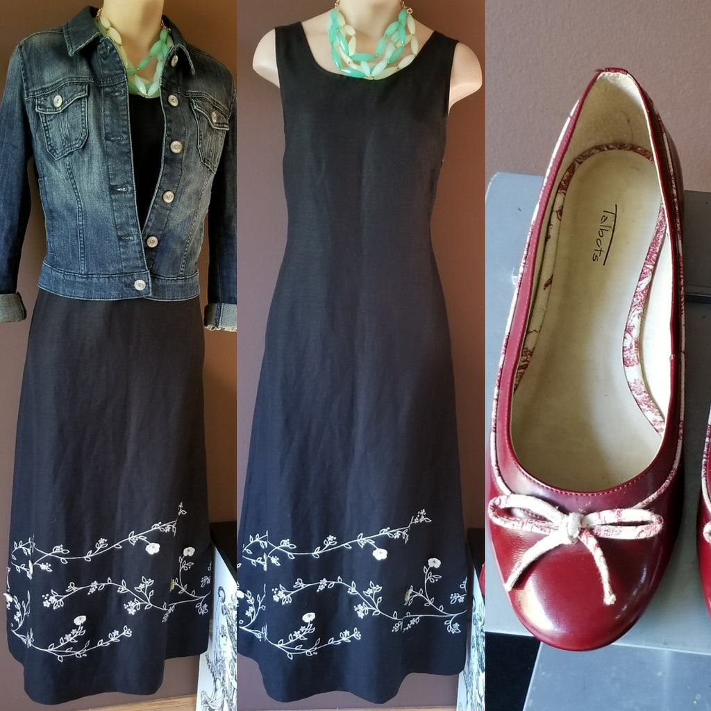 Kenar black dress with white embroidery accent, size 4