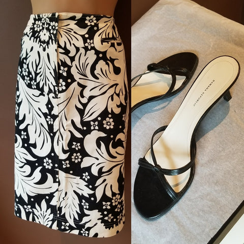 Talbots Collection  black & white Summer skirt,  Sz 8