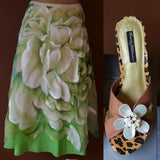 Rozae Nichols designer green and white skirt, Sz small