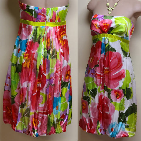 Cache floral strapless silk dress, size 6