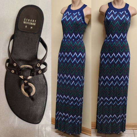 a.n.a multicolor maxi dress, size small