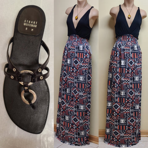 Felicity & Coco tribal print maxi dress, size petite small