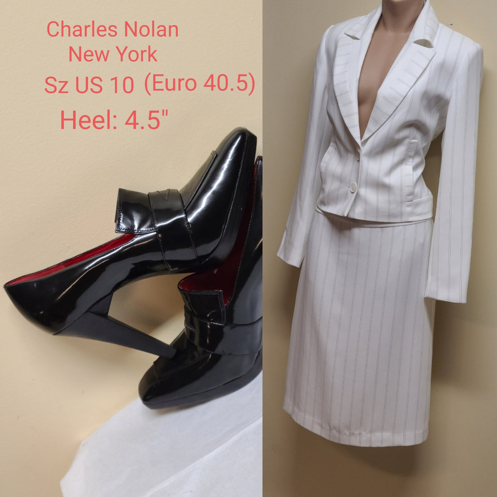 Bloomingdale's striped white skirt suit, size 4