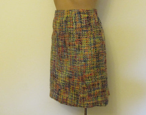 Oscar De La Renta multi-color tweed skirt, Sz 10, excellent condition