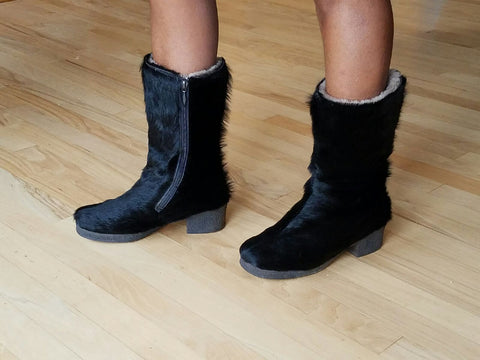 Salamander Weitschaft very warm black quarter boots Sz 6 M, Made from German Obermaterial Leder