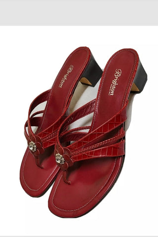 Brighton red Kylie leather sandals, size 11, made in Italy