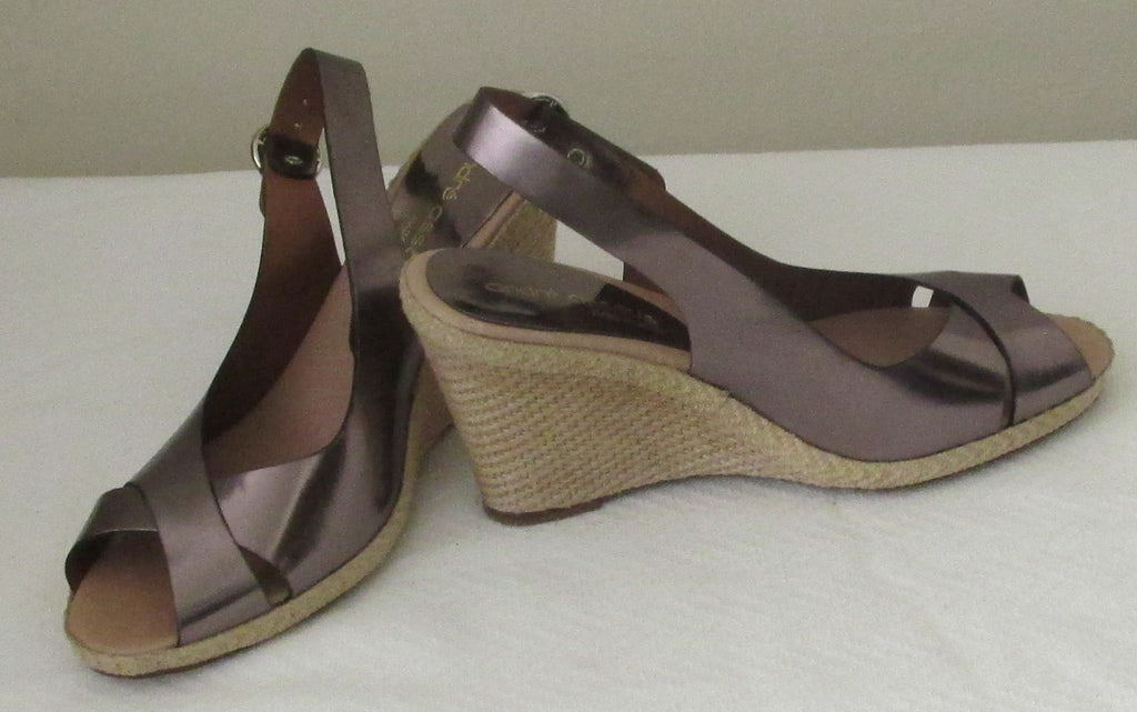 NEW Andrea Assous brown metallic sandals, 7.5 M