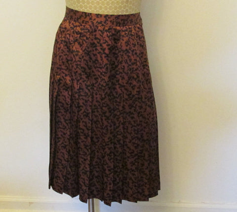 Doncaster 100% silk brown and black skirt, Sz 12, excellent condition