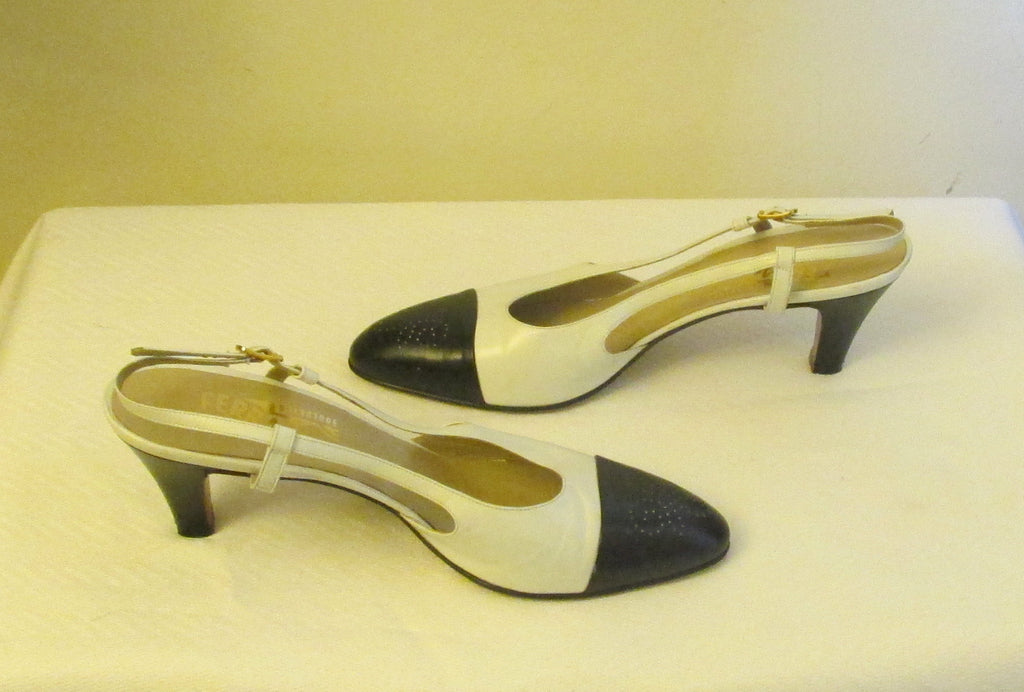 Salvatore Ferragamo sling back black and white sandals Sz 8.5 AA, excellent condition