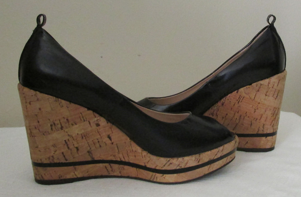 Gastone Lucioli black Italian peeped toe wedge sandals, Sz 5 M, excellent condition!