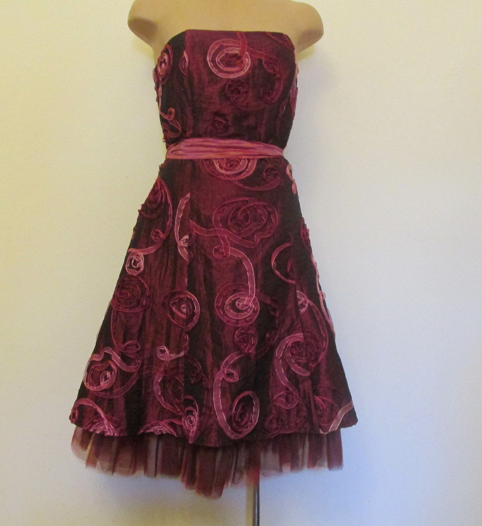 Jessica McClintock dark red strapless dress Sz 6, excellent condition