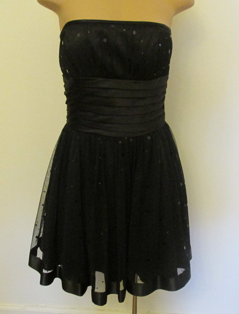 Morgan & Co elegant strapless glittered black dress Sz 5/6, excellent condition