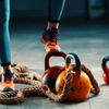 Battle rope and kettlebell work out
