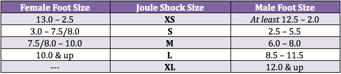 512e5c5ec9 Each person will fit their Shocks differently…so below the charts are size  GUIDES…SEE BELOW FOR SIZING TIPS to help get you in your best fit!