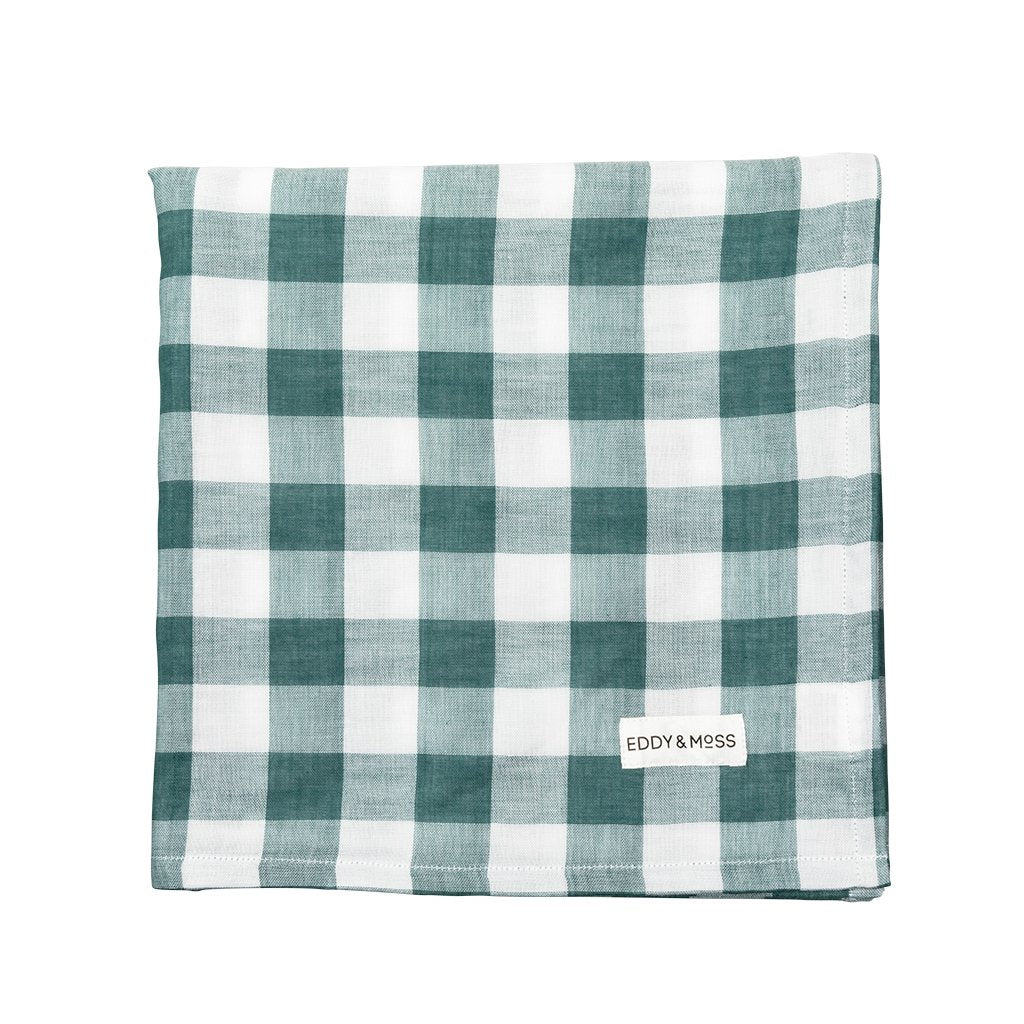 Eddy & Moss Gingham & Pine swaddle is made from a luxurious and breathable 100% organic Muslin fabric. This lightweight swaddle is made with a soft luxurious fabric to create an essential and versatile item for the everyday need for your little one. Available at The Country Providore, NZ.