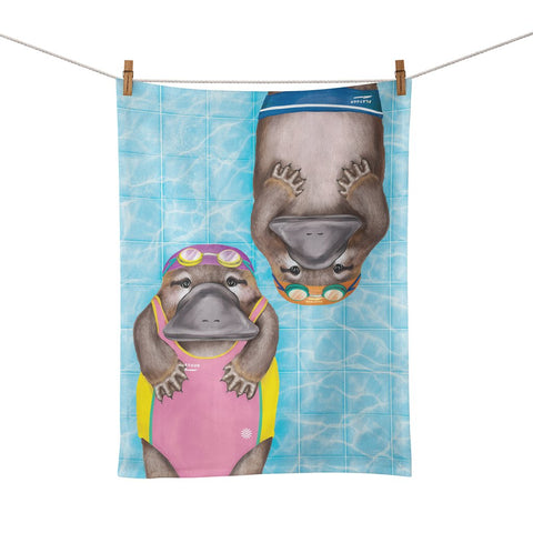 Tea Towel Platypus Swimming