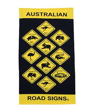 Aussie Road Signs Tea Towel