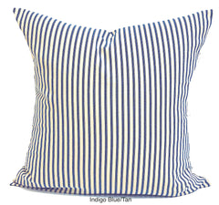 Blue & tan ticking stripe