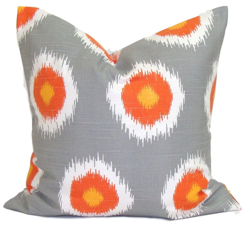 Orange & gray ikat