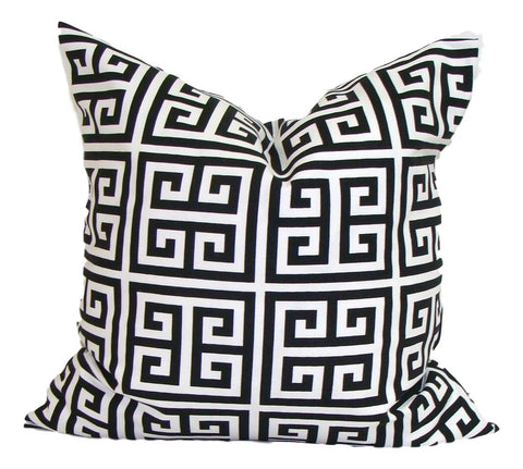 Home Decor, Black pillow, pillow, popular pillow, Decorative Pillows, Pillows, Pillow Covers, Throw Pillows, Toss Pillows, Bedding, Custom Pillows - Black/white Greek Key