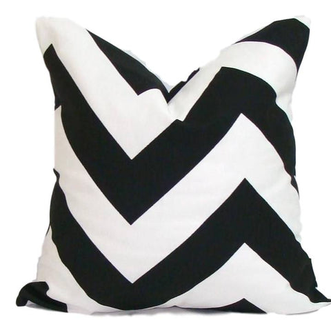 Home Decor, Black pillow, pillow, popular pillow, Decorative Pillows, Pillows, Pillow Covers, Throw Pillows, Toss Pillows, Bedding, Custom Pillows - Black/white Large Chevron