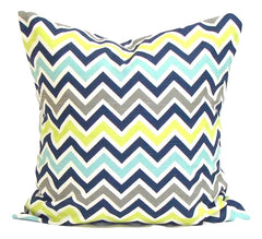 Home Decor, Blue Pillows, Decorative Pillows, Pillows, Pillow Covers, Throw Pillows, Toss Pillows, Bedding, Custom Pillows, Home Decor - Blue, Green & Gray Chevron