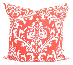 Coral Decorative Pillows, Pillows, Pillow Covers, Home Decor. Throw Pillows, Toss Pillows, Bedding, Custom Pillows, Home Decor - Coral Damask