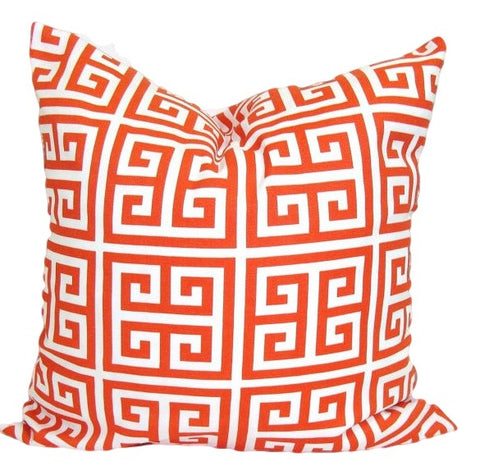 Greek Key Pillow. Orange Pillow. Outdoor Pillow. Home Decor. Throw Pillows. ElemenOPillows,