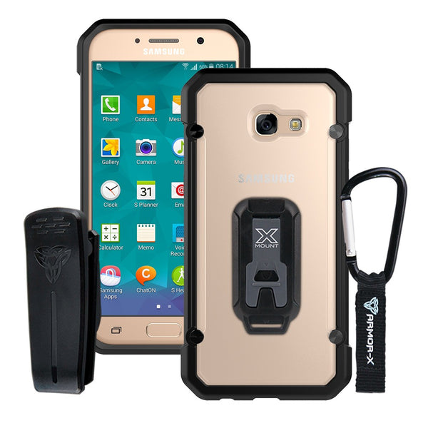 outlet store af9b6 19a2d BT-A3_7-BK ARMOR-X SAMSUNG GALAXY A3 2017 SHOCKPROOF RUGGED CASE + CARABINER