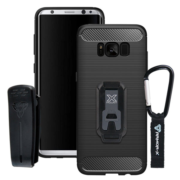 detailed look bdd65 2863b TP-S8P-BK ARMOR-X SAMSUNG GALAXY S8 PLUS SHOCKPROOF PROTECTIVE CASE + BELT  CLIP & CARABINER