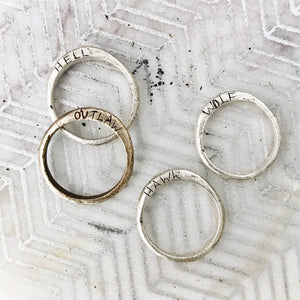 Icelandic Stacking Rings - Style 2 (with side writing) - SILVER