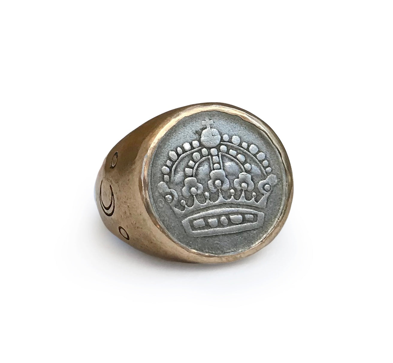 Nordic Coin Ring - Small Crescent Moon