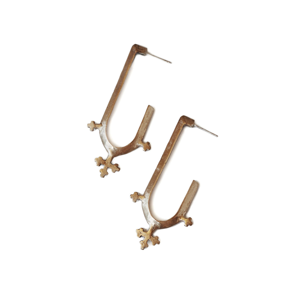 cross hoops with modern twist on French medieval style and Croix de Lorraine saint collection