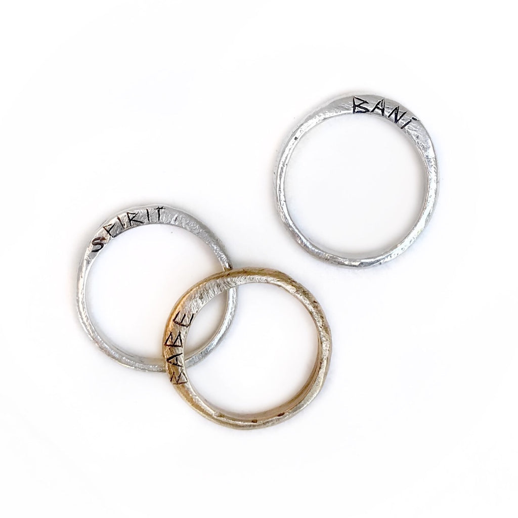Icelandic Stacking Rings - Style 2 (with side writing) - BRONZE