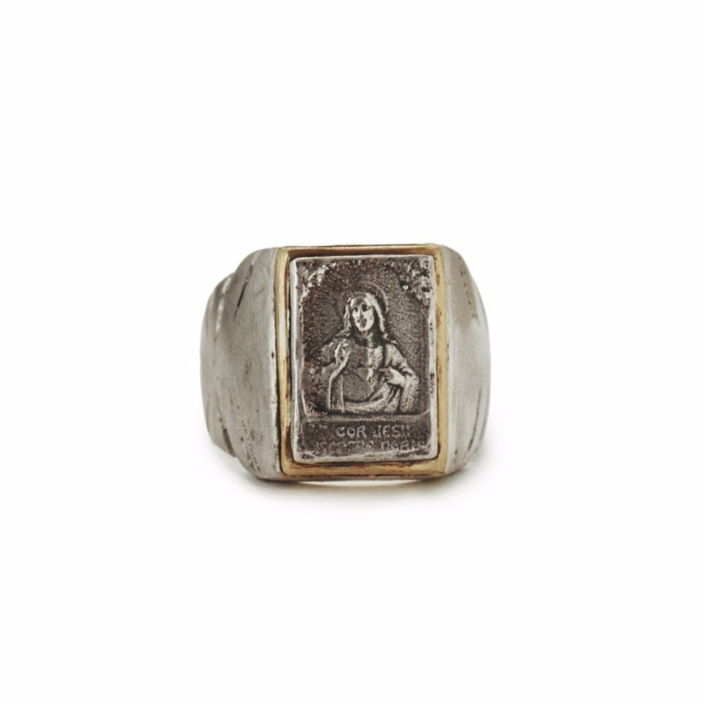 Jesus as Savior in style of antique Souvenir Mexican Biker ring for Saint collection
