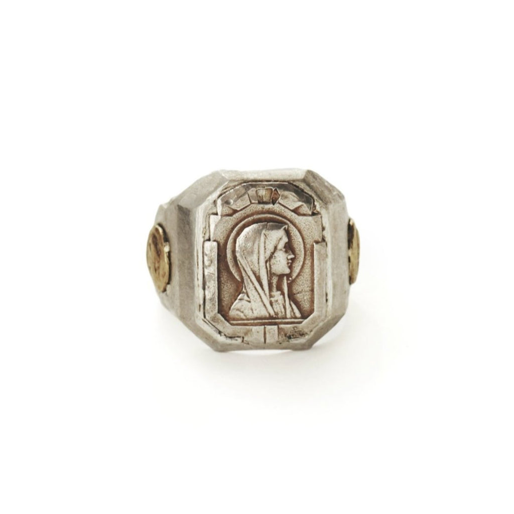 Mother Mary ring inspired by French religious emblems and medallions, as well as Mexican biker and Souvenir rings, for Saint collection