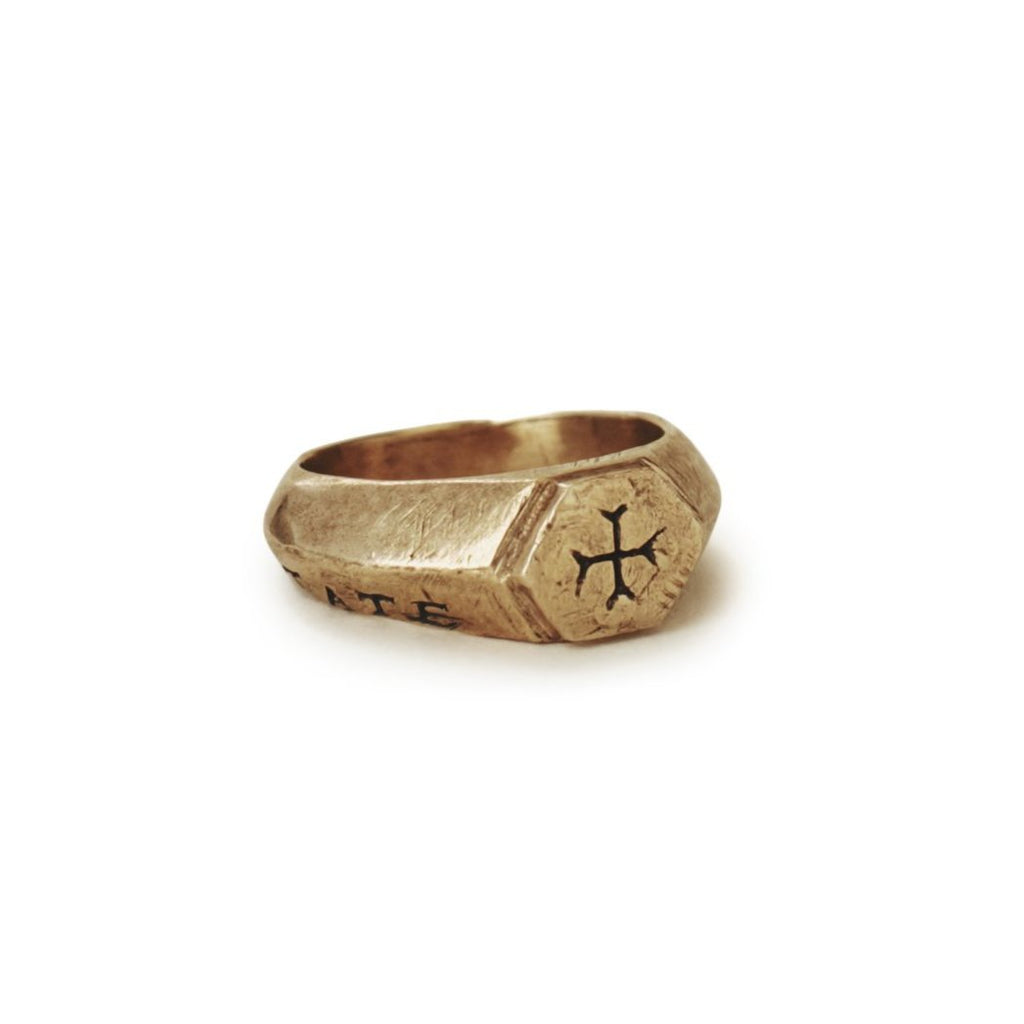 Sumerian cross ring with Latin words Sacrum Caritate for Sacred Love