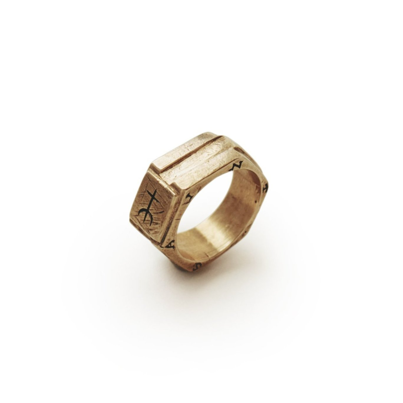 Sumerian cross ring in geometric hexagon style for saint collection
