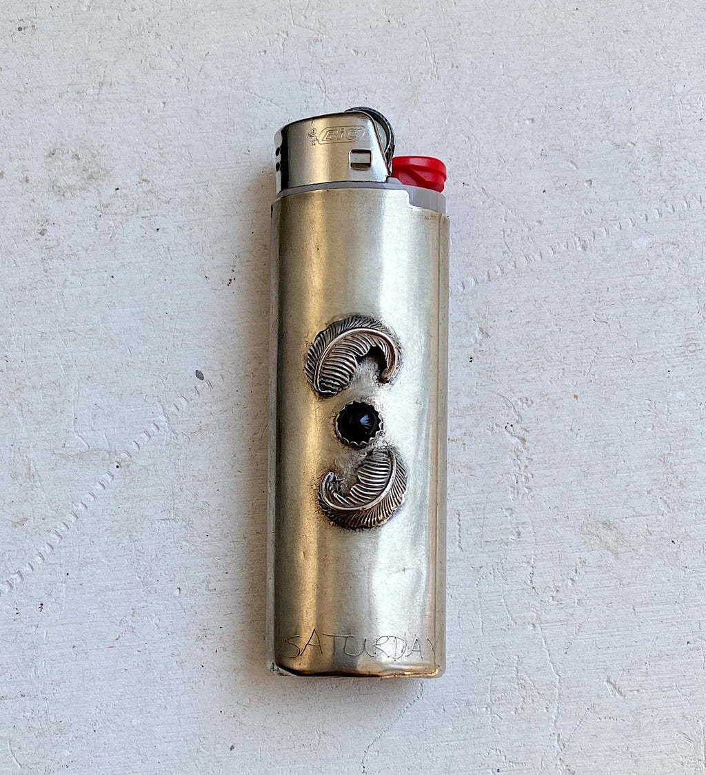 Vintage Nickel Silver Lighter Sleeve with Onyx